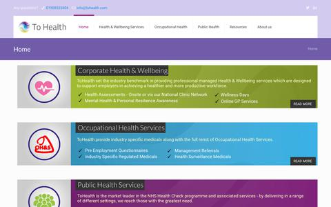 Screenshot of Home Page tohealth.com - ToHealth.com – ''Comprehensive range of health and wellbeing services for organisations and their employees including health screening and occupational health'' - captured Oct. 18, 2018