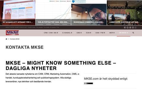 Screenshot of About Page mkse.com - Kontakta MKSE | MKSE.com - captured Oct. 14, 2018