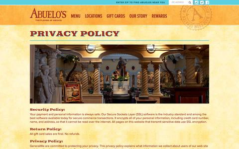 Screenshot of Privacy Page abuelos.com - Privacy Policy - Abuelo's Mexican Food Restaurant - captured Jan. 16, 2016