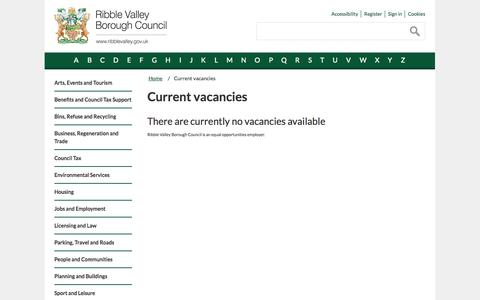 Screenshot of Jobs Page ribblevalley.gov.uk - Current vacancies | Ribble Valley Borough Council - captured Oct. 26, 2014