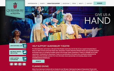 Screenshot of Support Page queensburytheatre.org - Show Your Support - Country Playhouse is now Queensbury Theatre - captured Oct. 26, 2014