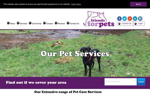 Screenshot of Services Page friendsforpets.co.uk - Our range of professional dog walking and pet sitting services. - captured Sept. 1, 2018