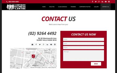 Screenshot of Contact Page corporatefitnesscentre.com.au - CONTACT US - Corporate Fitness Centre - captured Sept. 30, 2014