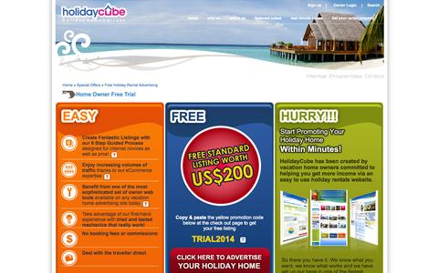 Screenshot of Trial Page holidaycube.com - Promote your vacation rental free for one year! | holidaycube - captured Sept. 30, 2014