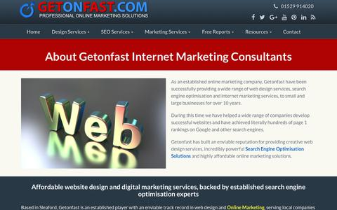 Screenshot of About Page getonfast.com - Internet Marketing Consultant-Lincoln-Peterborough-Sleaford - captured Sept. 28, 2018
