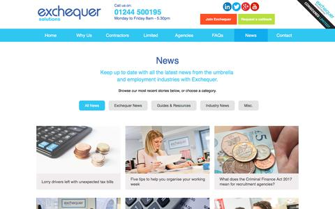 Screenshot of Press Page exchequersolutions.co.uk - Exchequer Solutions Umbrella Company News - captured Nov. 15, 2017
