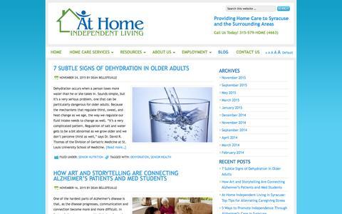 Screenshot of Blog athomeindependentliving.com - Home Health Care Agencies | At Home Independent Living - captured Dec. 27, 2015