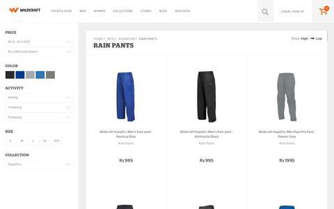 Screenshot of wildcraft.in - Buy Wildcraft Mens Rain Pants and Waterproof Pants Online - captured March 19, 2016