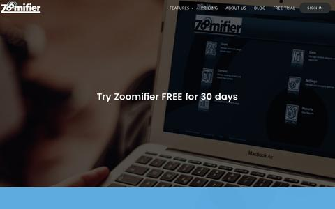 Screenshot of Signup Page Trial Page zoomifier.com - Lead Nurturing, Sales Lead Qualification & Sales Enablement Solution - Zoomifier - captured Jan. 25, 2017