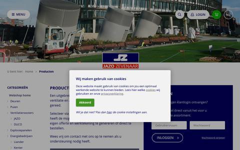 Screenshot of Login Page jazo.nl - Producten - JAZO Zevenaar bv - captured Oct. 1, 2018