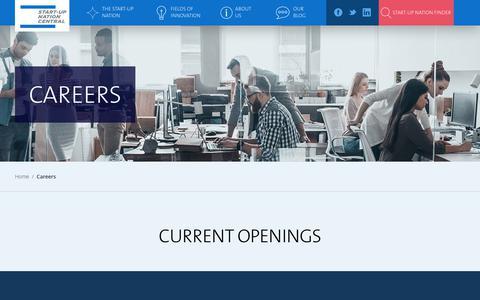 Screenshot of Jobs Page startupnationcentral.org - Careers | Start-Up Nation Central - captured Sept. 21, 2018