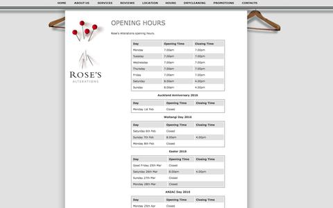 Screenshot of Hours Page roses.co.nz - Rose's Alterations: Auckland's #1 Clothing Alterations Company - Hours - captured Feb. 15, 2016