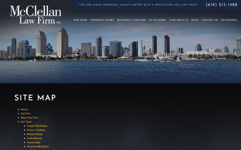 Screenshot of Site Map Page mcclellanlaw.com - Site Map | San Diego Personal Injury Lawyer - captured Dec. 21, 2018