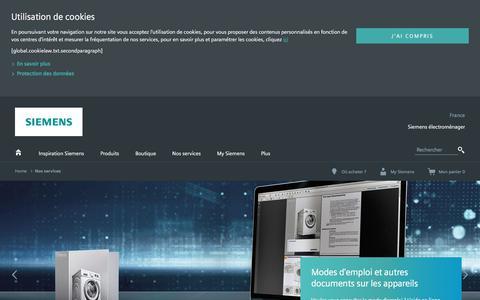 Screenshot of Services Page bsh-group.com - Service consommateurs Siemens | Siemens Électroménager - captured Sept. 22, 2018