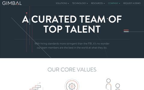 Screenshot of Team Page gimbal.com - Team - Gimbal - captured April 5, 2017