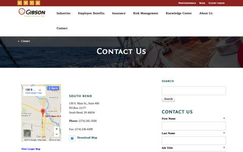 Screenshot of Contact Page gibsonins.com - Contact - captured March 3, 2016
