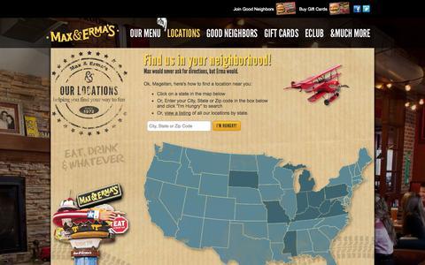 Screenshot of Locations Page maxandermas.com - Max & Erma's: Locations - captured Oct. 27, 2014