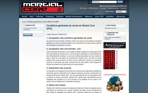 Screenshot of Support Page martialcore.com - Conditions générales de vente de Martial Core SPRL - captured Sept. 30, 2014