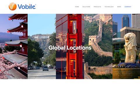Screenshot of Contact Page vobileinc.com - Vobile's Global Locations - captured Feb. 17, 2016