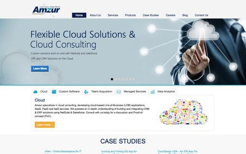Screenshot of Home Page amzur.com - Amzur - Cloud, NetSuite, Mobility , Web, IT Staffing, Tampa,Florida - captured Oct. 10, 2014
