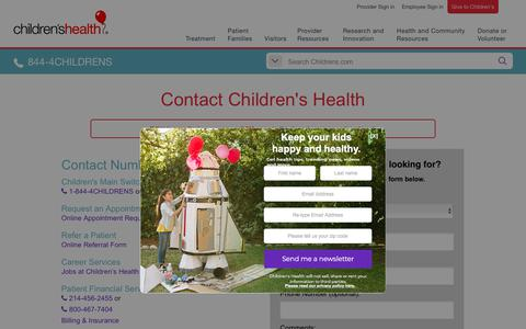 Screenshot of Contact Page childrens.com - Contact Children's Health - captured July 4, 2018