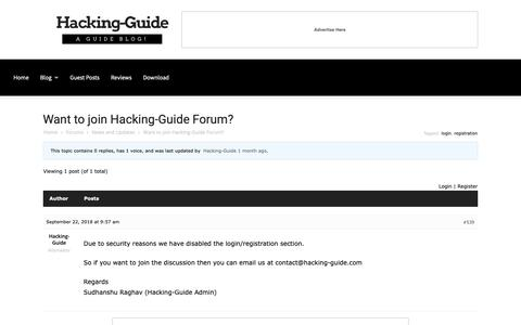 Screenshot of Login Page hacking-guide.com - Want to join Hacking-Guide Forum? - Hacking-Guide - captured Oct. 26, 2018