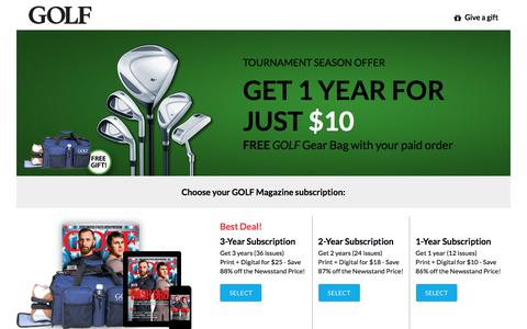 Screenshot of Landing Page golf.com - Golf Magazine Subscription Offer - captured May 26, 2018