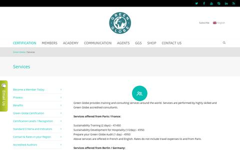 Screenshot of Services Page greenglobe.com - Services | Green Globe - captured Jan. 19, 2018