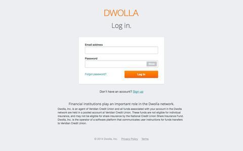 Screenshot of Login Page dwolla.com - Login   Dwolla - captured Sept. 15, 2014