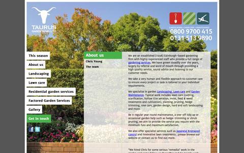 Screenshot of Home Page taurusgardening.com - About us - captured Oct. 6, 2014