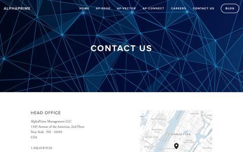 Screenshot of Contact Page alphaprime.com - Contact Us — AlphaPrime - captured Oct. 3, 2018
