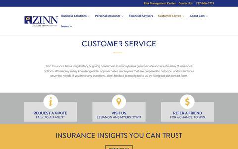 Screenshot of Support Page zinn.com - Customer Service | Risk Management Center | Zinn Insurance | Lebanon - captured Nov. 5, 2017