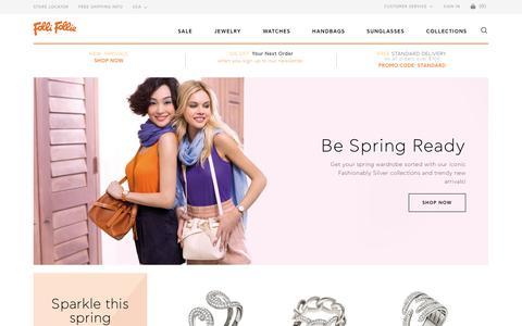 Screenshot of Home Page follifollie.us.com - Folli Follie USA Official Shop - Trendy Fashion Jewelry for Women | Watches, Handbags & More - captured April 29, 2017