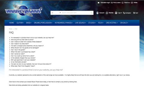Screenshot of FAQ Page musicplanet.co.nz - FAQ - captured Sept. 21, 2018