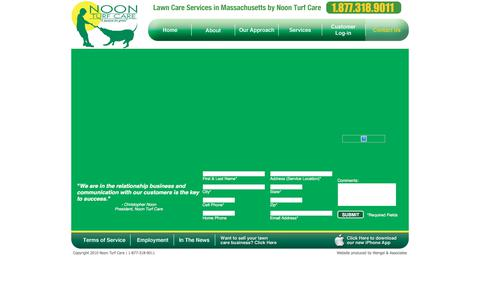Screenshot of Contact Page noonturfcare.com - Noon Turf Care   Servicing Massachusetts for Lawn Care, Tree Care and Shrub Care Services - captured Jan. 20, 2020