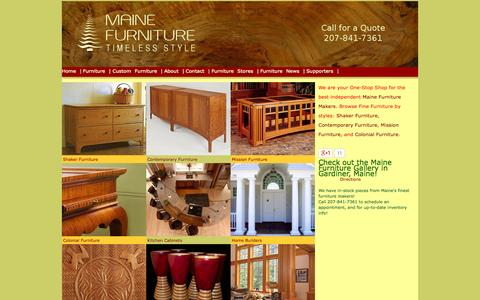 Screenshot of Home Page mainefurniture.org - Maine Furniture - Shaker Furniture, Mission Furniture, Colonial Furniture and Contemporary Furniture - captured Oct. 6, 2014