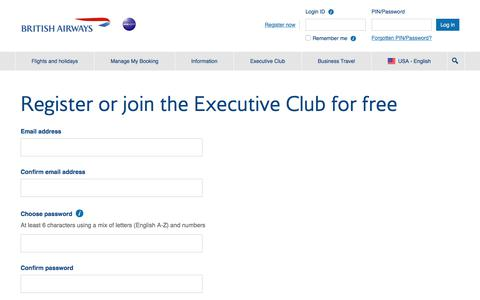 British Airways - Registration Page