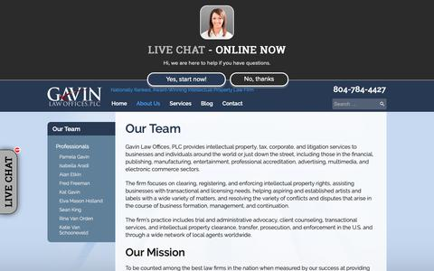 Screenshot of About Page gavinlawoffices.com - Our Team - Gavin Law Offices, PLC - captured Sept. 27, 2018