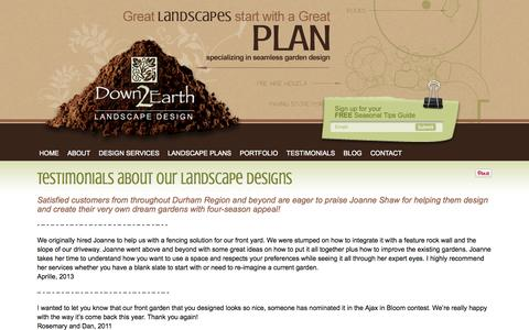 Screenshot of Testimonials Page down2earth.ca - Testimonials Down 2 Earth landscape design Pickering, Designer Down 2 Earth - captured Oct. 5, 2014