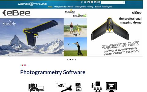 Screenshot of Home Page menci.com - Menci Software | 3D Map Software | Topography software | Image processing from Aerial, Drone and Close-range image - captured Sept. 6, 2015