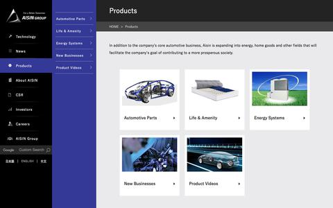 Screenshot of Products Page aisin.com - Products | Aisin Seiki Global Website - captured Aug. 14, 2019