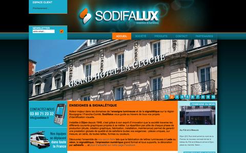 Screenshot of Home Page sodifalux.fr - Sodifalux, fabricant d'enseignes et de signalétique à Dijon - captured Sept. 30, 2014