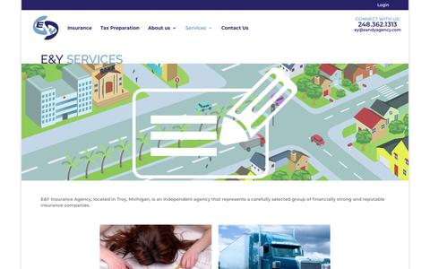 Screenshot of Services Page eandyagency.com - Services | E&Y Insurance Agency - captured Dec. 13, 2018