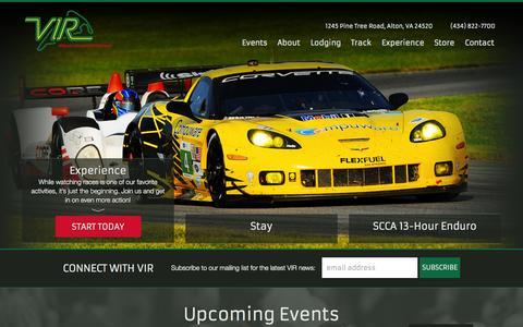 Screenshot of Home Page virnow.com - Virginia International Raceway - captured Oct. 7, 2014