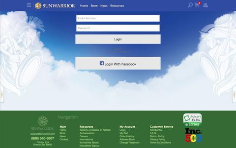 Screenshot of Login Page sunwarrior.com - Login to your account - captured Sept. 19, 2014