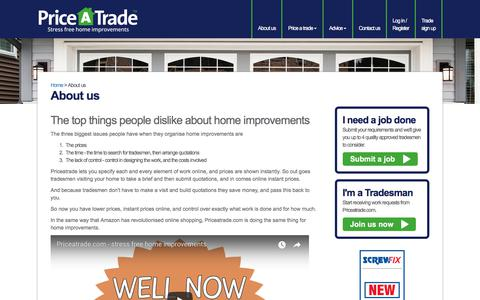 Screenshot of About Page priceatrade.com - home improvement work | Priceatrade.com - captured Jan. 15, 2018