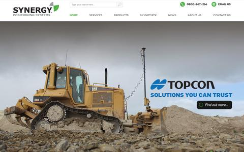 Screenshot of Home Page synergypositioning.co.nz - Authorised Topcon Dealer | Synergy Positioning Systems - captured Feb. 28, 2016