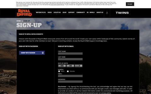 Screenshot of Signup Page royalenfield.com - Sign Up - Royal Enfield - captured Sept. 20, 2018