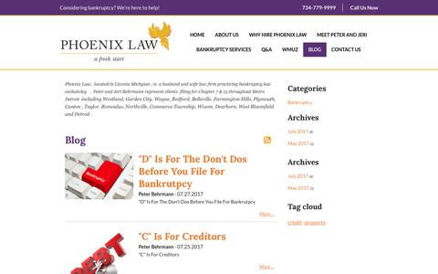 Screenshot of Blog phoenixfreshstart.com - Questions and Answers | Phoenix Law | Livonia, Michigan - captured July 31, 2017