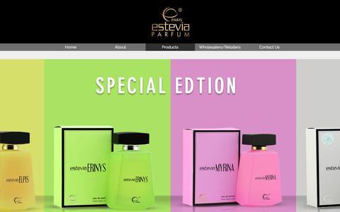 Screenshot of Products Page esteviauae.com - Al Wara Perfume Industry, Estevia Parfum, Dubai | Products - captured Oct. 7, 2017